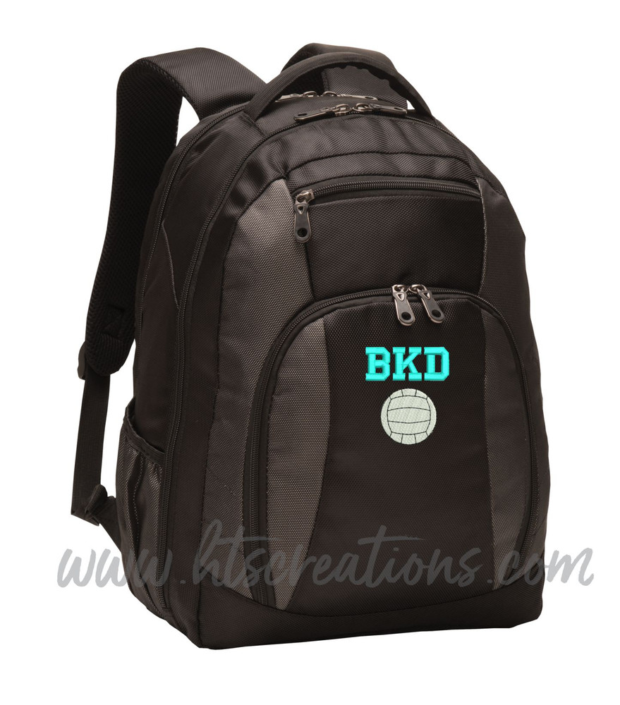 Volleyball Coach Team Mom Player Sports Personalized Embroidered Monogram Backpack Waterbottle Holder Font Style VARSITY