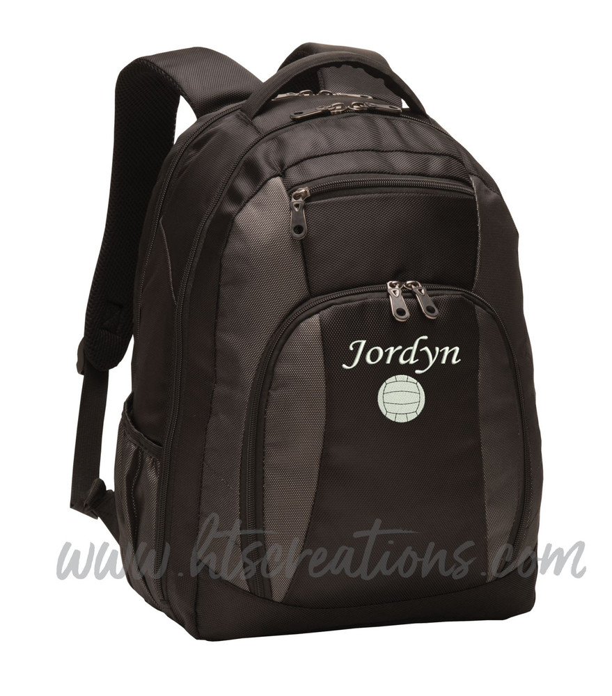 Volleyball Coach Team Mom Player Sports Personalized Embroidered Monogram Backpack Waterbottle Holder Font Style MONO CORSIVA