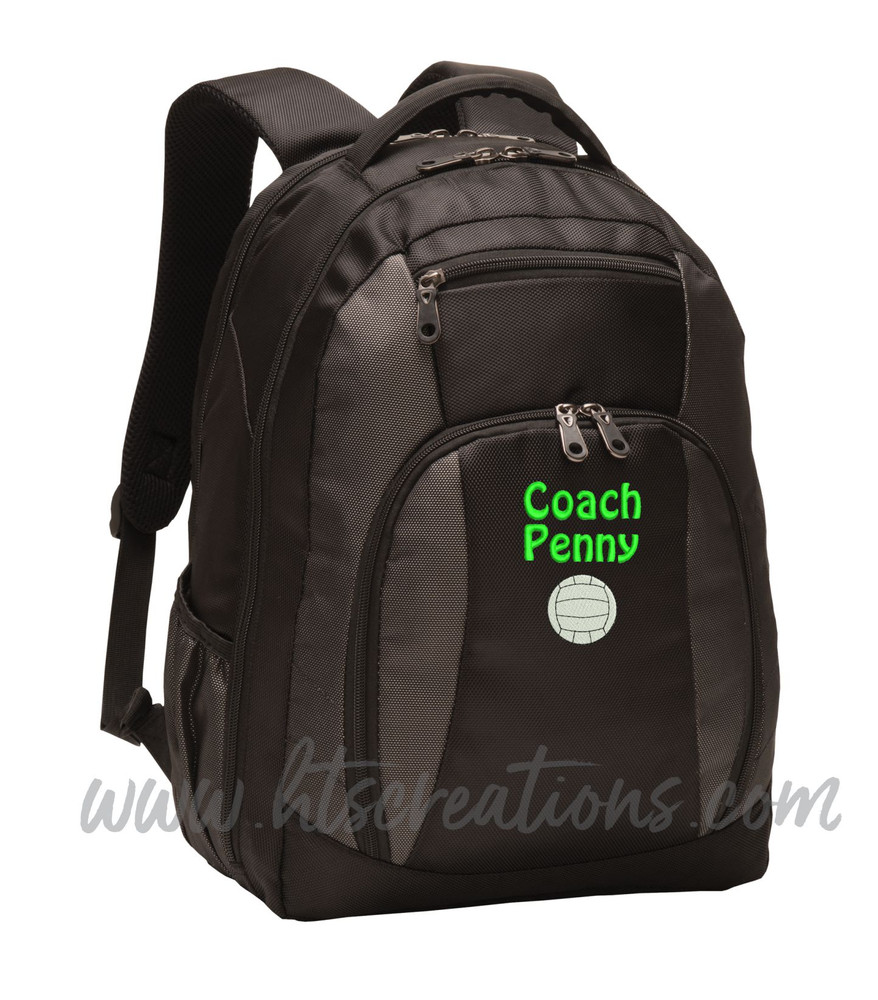 Volleyball Coach Team Mom Player Sports Personalized Embroidered Monogram Backpack Waterbottle Holder Font Style DRIFTER