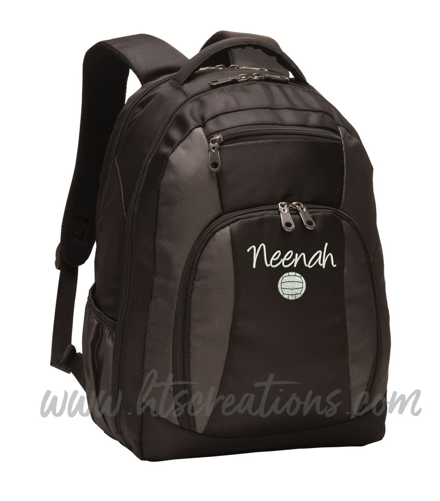 Volleyball Coach Team Mom Player Sports Personalized Embroidered Monogram Backpack Waterbottle Holder Font Style HANDWRITTEN