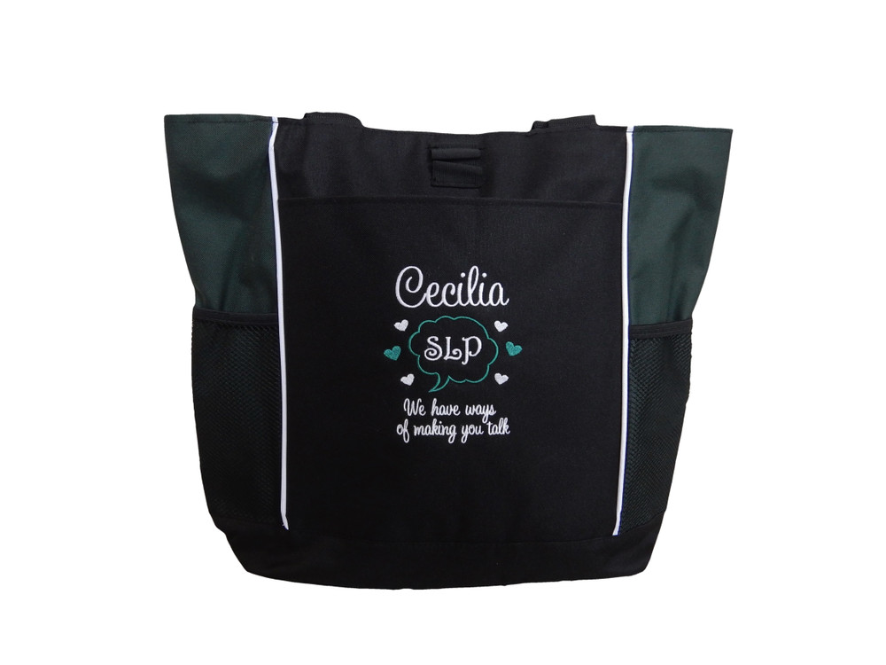 Speaking Bubble Speech Language Pathologist SLP Autism Personalized Embroidered Zippered HUNTER GREEN Tote Bag Font Style SWEETHEART