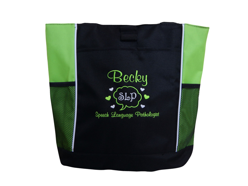 Speaking Bubble Speech Language Pathologist SLP Autism Personalized Embroidered Zippered LIME GREEN Tote Bag Font Style CASUAL SCRIPT