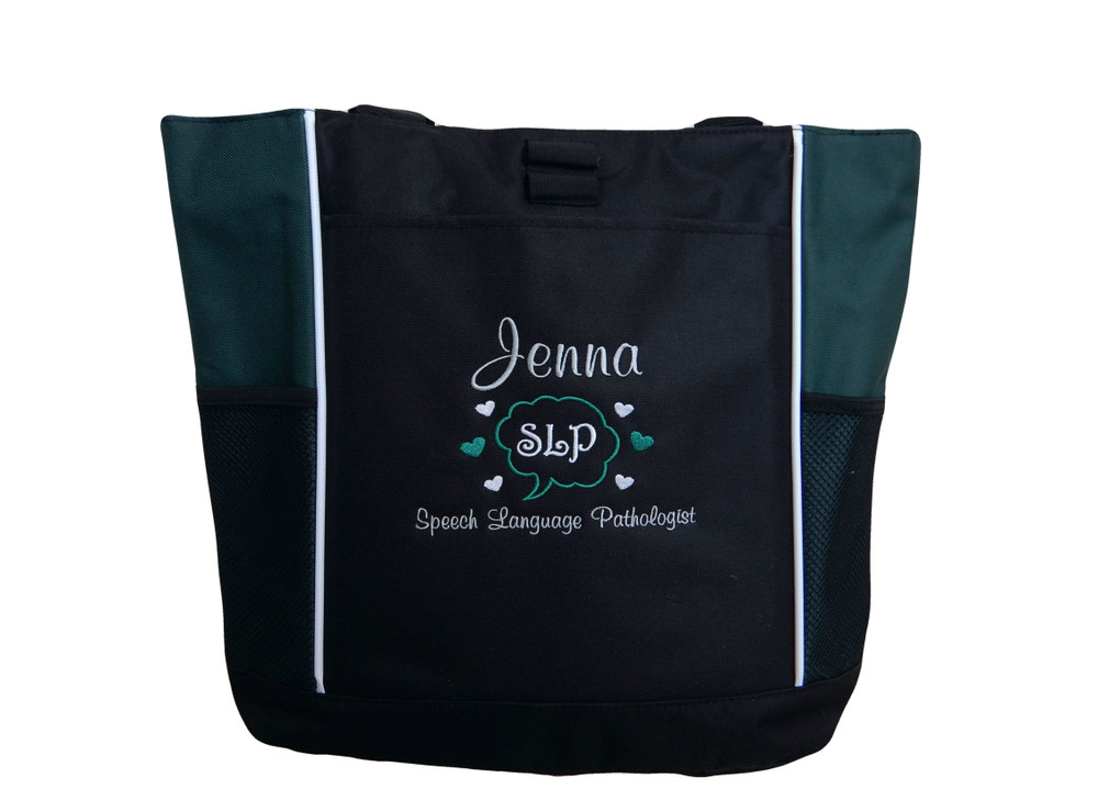 Speaking Bubble Speech Language Pathologist SLP Autism Personalized Embroidered Zippered HUNTER GREEN Tote Bag Font Style CASUAL SCRIPT