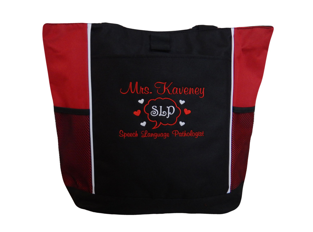 Speaking Bubble Speech Language Pathologist SLP Autism Personalized Embroidered Zippered RED Tote Bag Font Style CASUAL SCRIPT