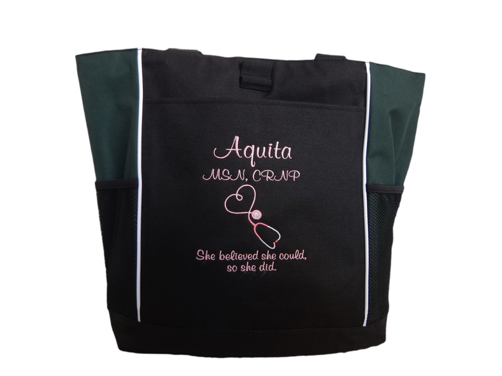 Upside Down Heart Stethoscope Nurse RN She Believed She Could So She Did Personalized Embroidered HUNTER GREEN Zippered Tote Bag FONT STYLE CASUAL SCRIPT