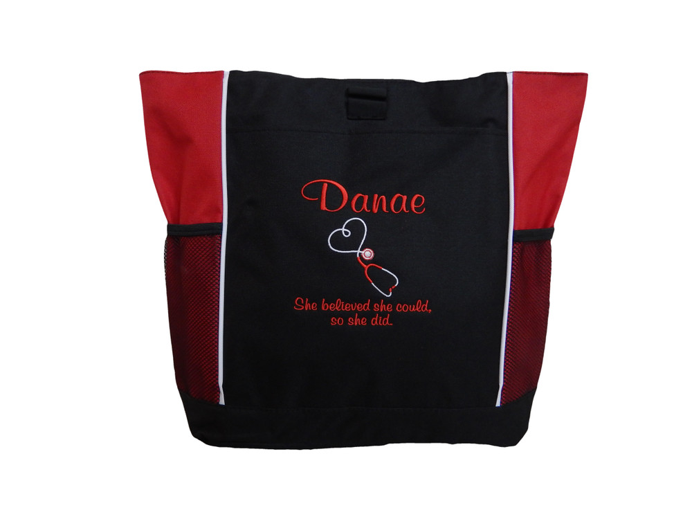 Upside Down Heart Stethoscope Nurse RN She Believed She Could So She Did Personalized Embroidered RED Zippered Tote Bag FONT STYLE CASUAL SCRIPT