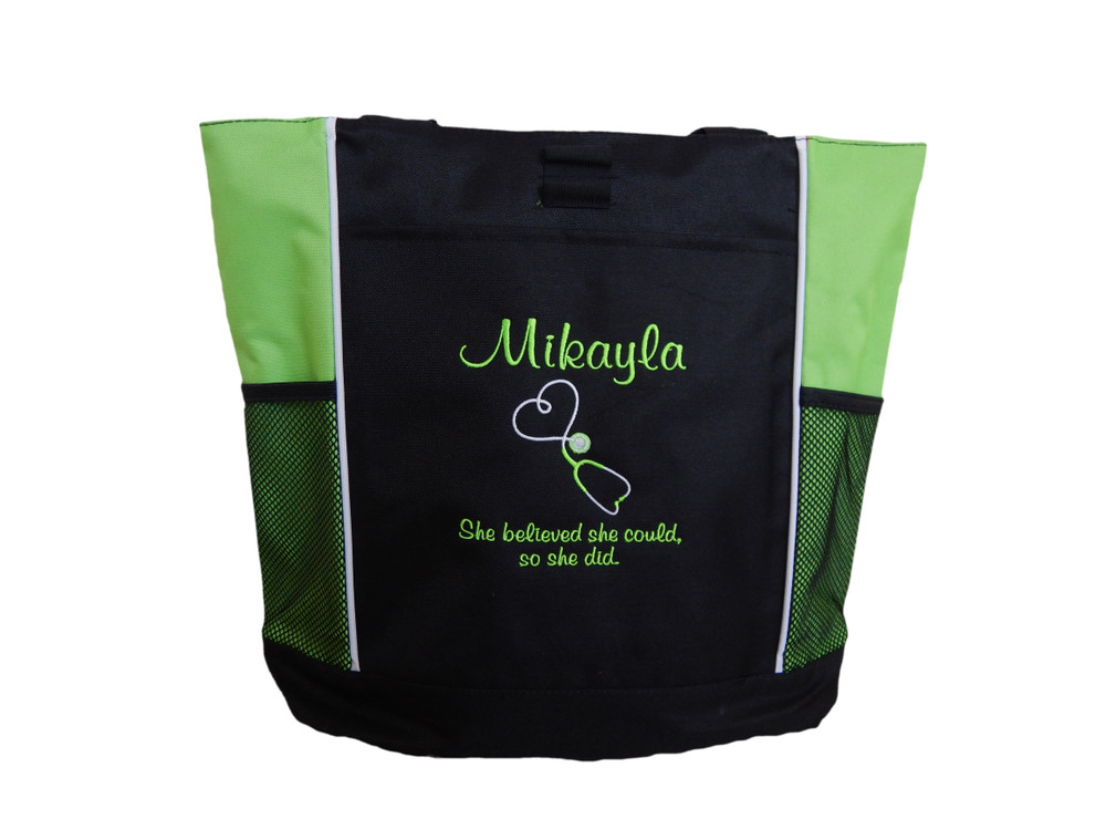 Upside Down Heart Stethoscope Nurse RN She Believed She Could So She Did Personalized Embroidered LIME GREEN Zippered Tote Bag FONT STYLE CASUAL SCRIPT