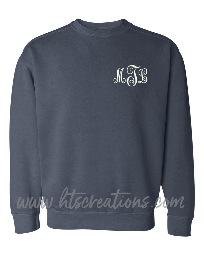 Crewneck Sweatshirt COMFORT COLORS Embroidered Monogram Personalized Unisex Mens Sizing S M L 2XL 3XL DENIM