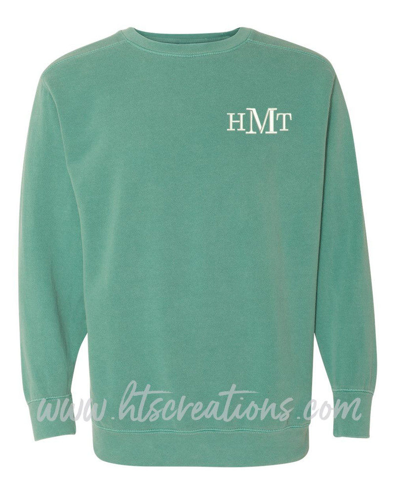 Crewneck Sweatshirt COMFORT COLORS Embroidered Monogram Personalized Unisex Mens Sizing S M L 2XL 3XL SEAFOAM GREEN