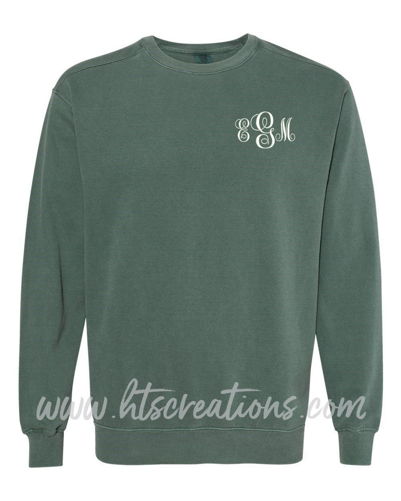 Crewneck Sweatshirt COMFORT COLORS Embroidered Monogram Personalized Unisex Mens Sizing S M L 2XL 3XL BLUE SPRUCE