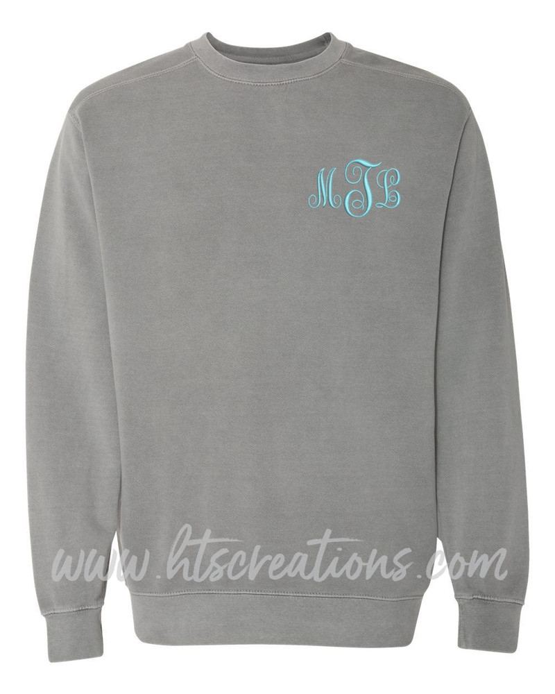 Crewneck Sweatshirt COMFORT COLORS Embroidered Monogram Personalized Unisex Mens Sizing S M L 2XL 3XL GREY