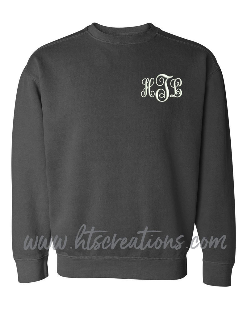 Crewneck Sweatshirt COMFORT COLORS Embroidered Monogram Personalized Unisex Mens Sizing S M L 2XL 3XL PEPPER
