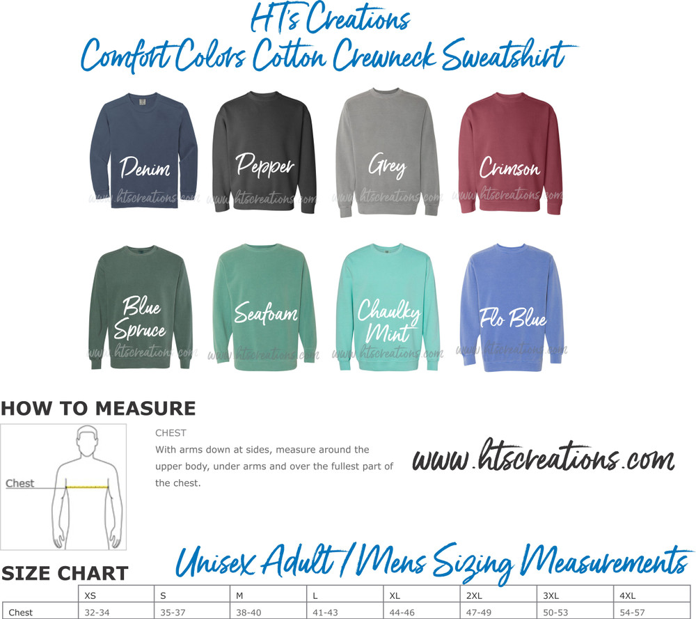 Crewneck Sweatshirt COMFORT COLORS Embroidered Monogram Personalized Unisex Mens COLORS & SIZING CHART