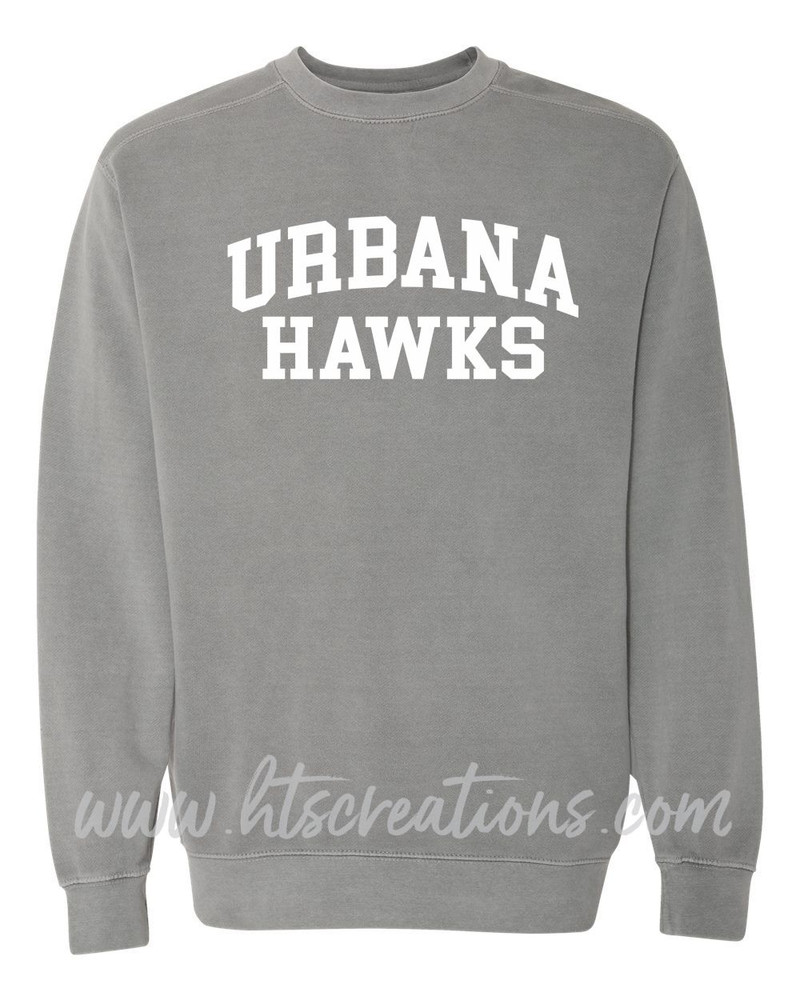 Urbana Hawks Crewneck Sweatshirt COMFORT COLORS Unisex Mens Sizing S M L 2XL 3XL GREY