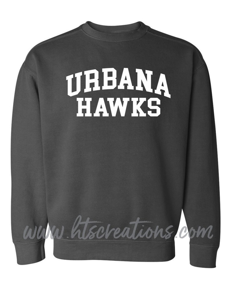 Urbana Hawks Crewneck Sweatshirt COMFORT COLORS Unisex Mens Sizing S M L 2XL 3XL PEPPER