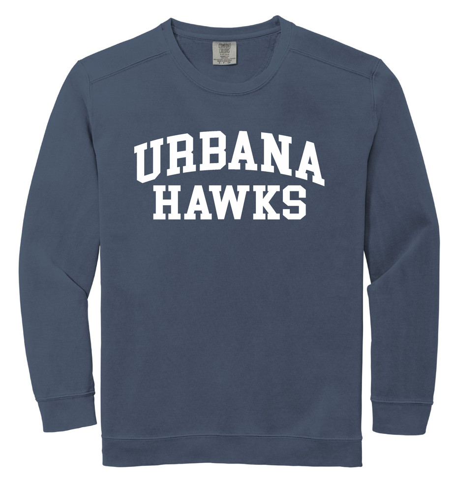 Urbana Hawks Crewneck Sweatshirt COMFORT COLORS Unisex Mens Sizing S M L 2XL 3XL DENIM