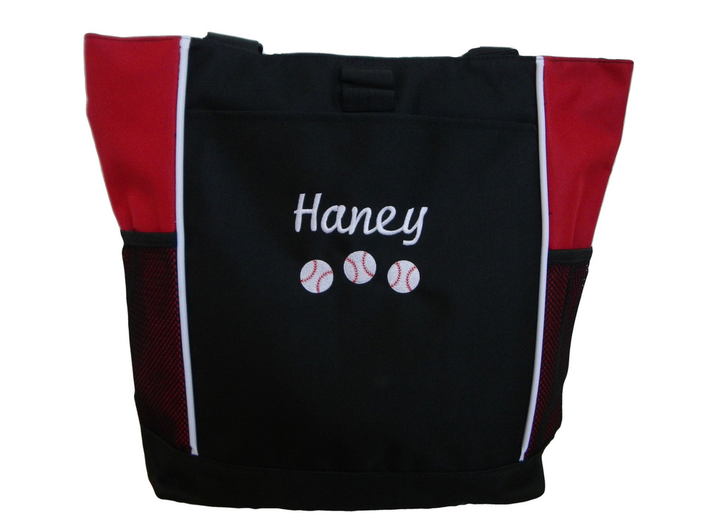 Baseball Softball Sports Team Mom Custom Personalized RED Tote Bag Font Style Cursive