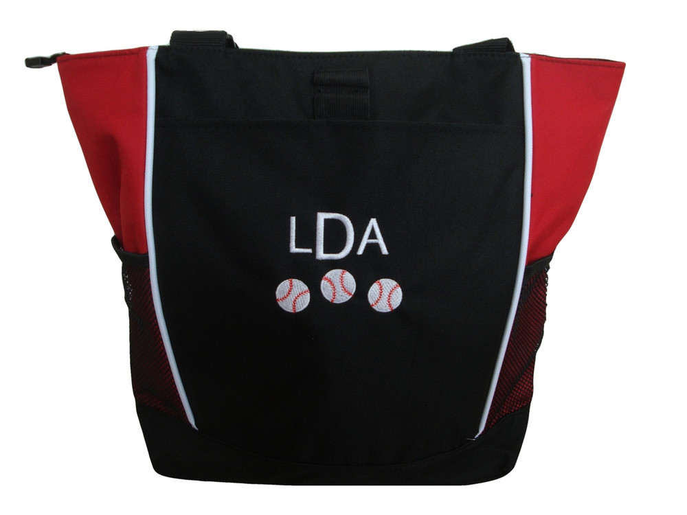 Baseball Softball Sports Team Mom Custom Personalized RED Tote Bag Font Style London