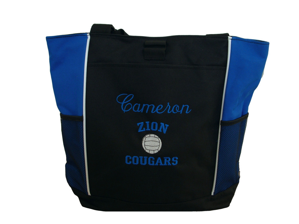 Volleyball Sports Team Mom Custom Personalized ROYAL BLUE Tote Bag Font Style ANNIVERSARY & VARSITY