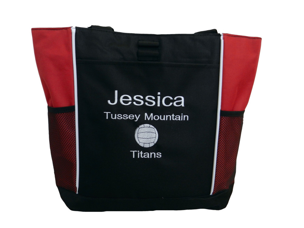 Volleyball Sports Team Mom Custom Personalized RED Tote Bag Font Style JESTER