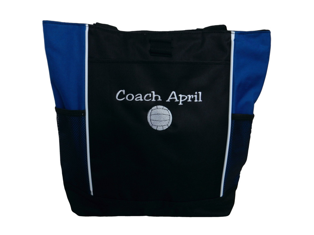 Volleyball Sports Team Mom Custom Personalized ROYAL BLUE Tote Bag Font Style JESTER