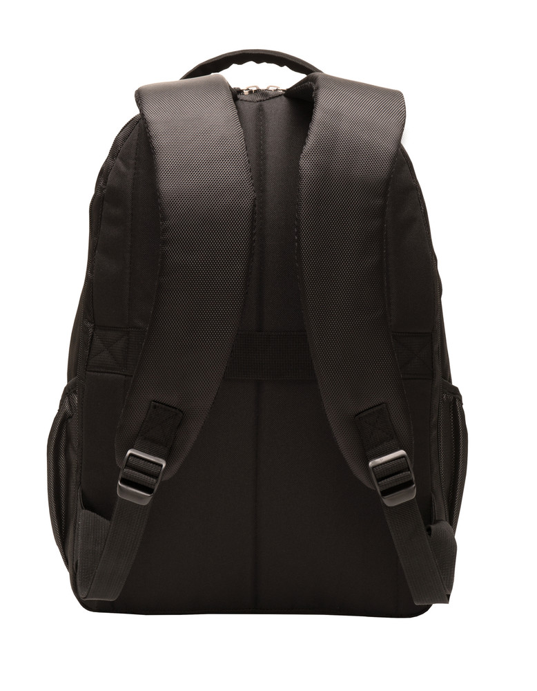Backpack Black Charcoal Waterbottle Holder BACK View