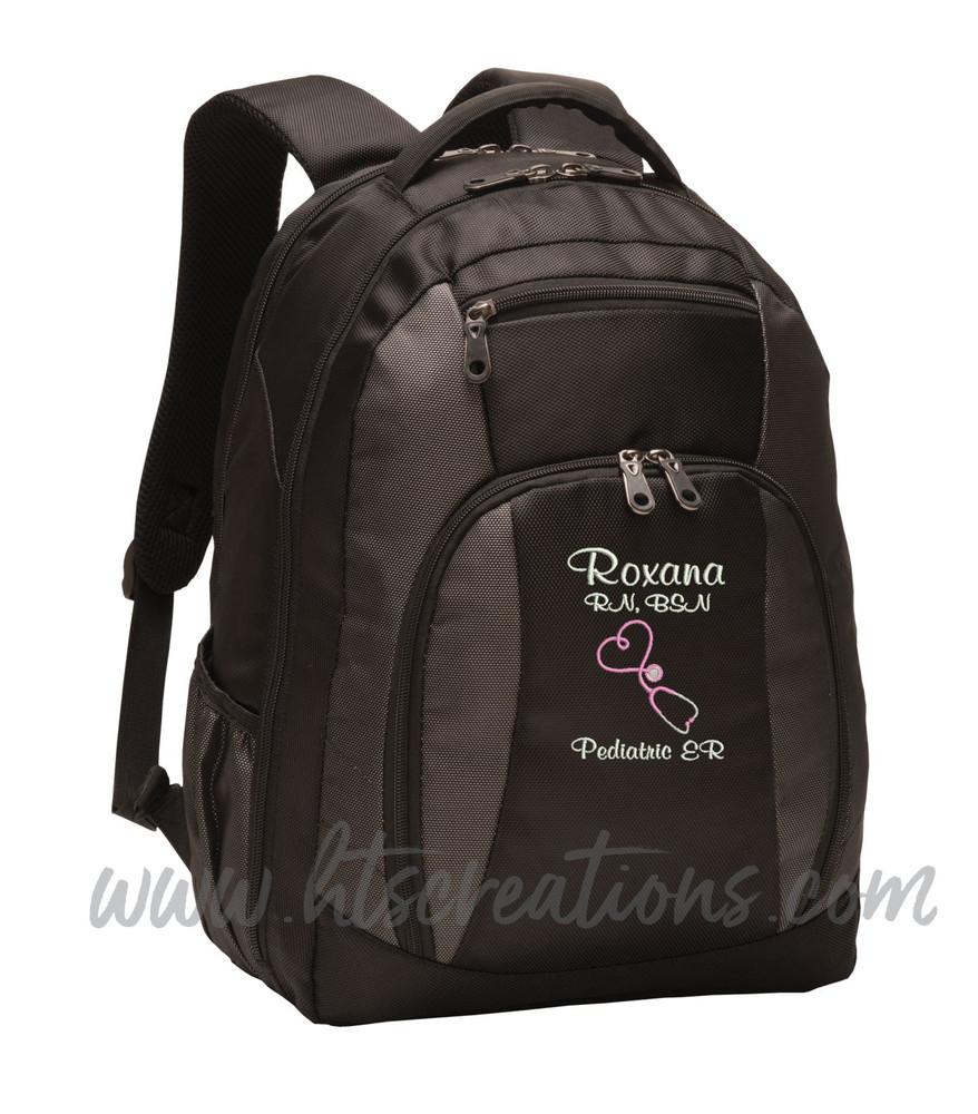 Upside Down Heart Stethoscope Nurse Nursing RN BSN LPN  LVN FNP CNA ER OT PT RT  Medical Personalized Embroidered Backpack with Waterbottle Holder FONT STYLE CASUAL SCRIPT