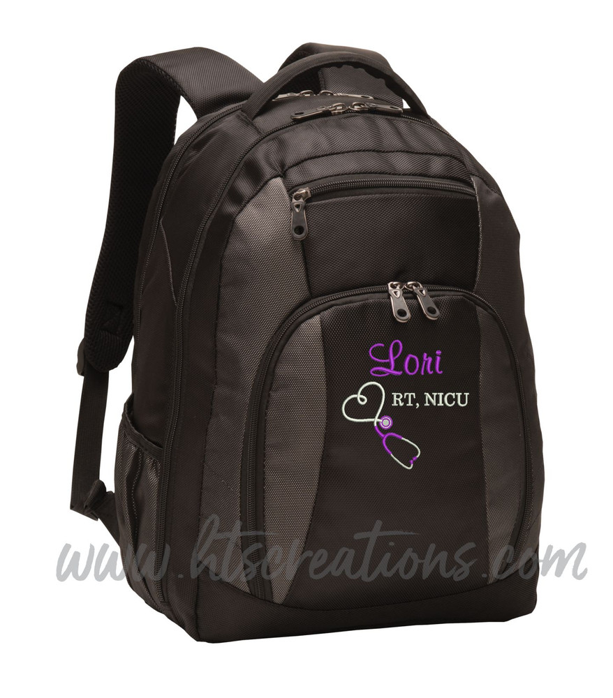 Upside Down Heart Stethoscope Nurse Nursing RN BSN LPN  LVN FNP CNA ER OT PT RT  Medical Personalized Embroidered Backpack with Waterbottle Holder FONT STYLES CASUAL SCRIPT & BODINI