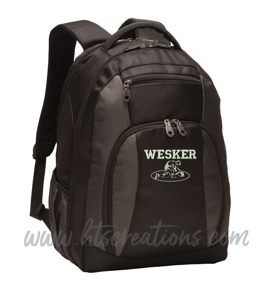 Wrestling Wrestlers Coach Team Mom Silhouette Sports Personalized Embroidered Monogram Backpack Waterbottle Holder FONT STYLE VARSITY