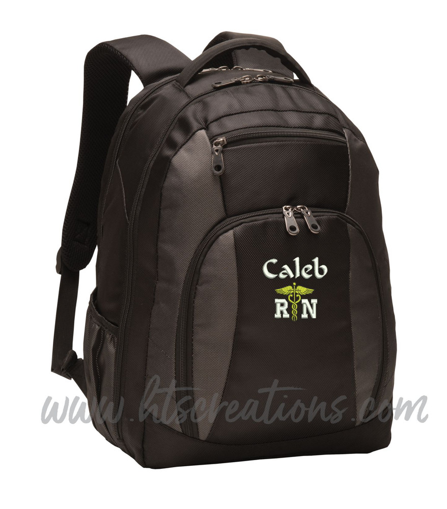 Caduceus Nurse Nursing RN BSN LPN  LVN ER OT PT Physical Therapy Medical Personalized Embroidered Backpack with Waterbottle Holder FONT STYLE  CALLIGRAPHY & VARSITY
