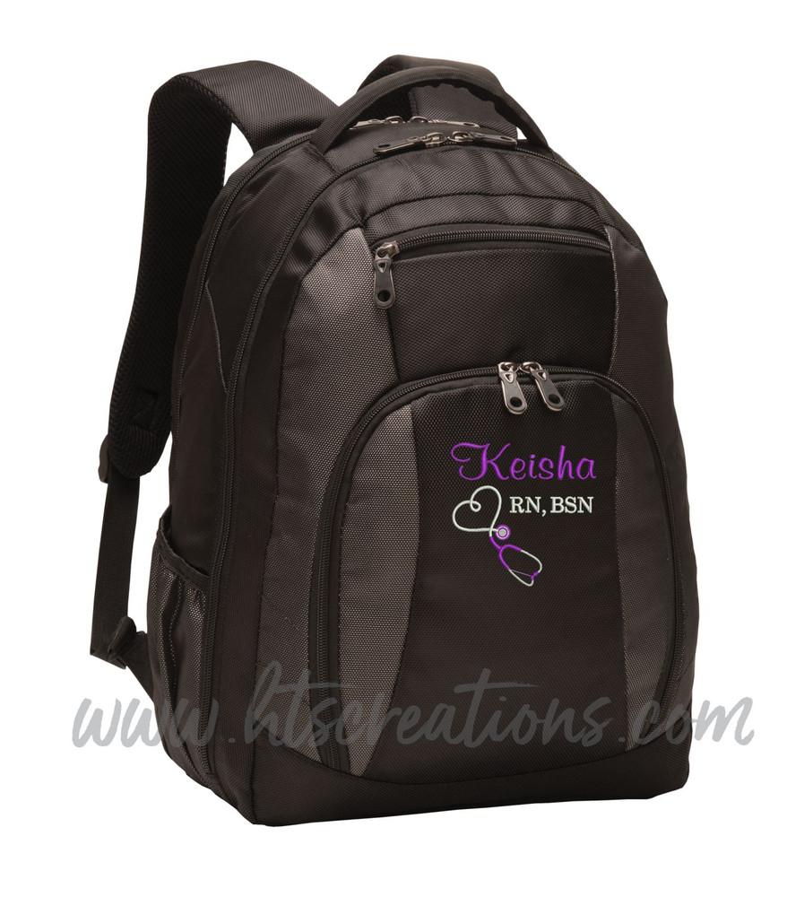 Upside Down Heart Stethoscope Nurse Nursing RN BSN LPN  LVN FNP CNA ER OT PT RT  Medical Personalized Embroidered Backpack with Waterbottle Holder FONT STYLE S CASUAL SCRIPT & BODINI
