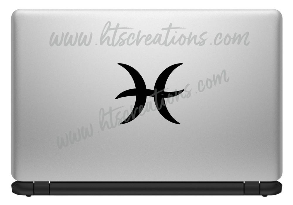 Pisces Astrology Zodiac Astrological  Horoscope Sign Symbol Celestial Vinyl Decal Laptop Car Door Mirror Truck Glass Water Bottle BLACK