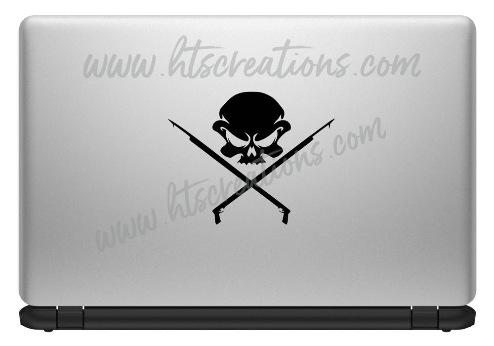 Spearfishing Skull Fishing Speargun Sling Hunting Diving Scuba Snorkeling Hawaii Vinyl Decal Laptop Car Truck BLACK
