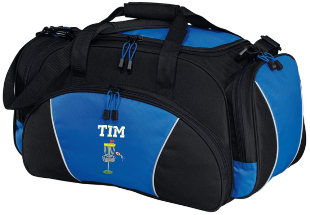 Frisbee Disc Golf Sports Personalized Monogrammed Embroidered ROYAL BLUE Duffel FONT STYLE VARSITY