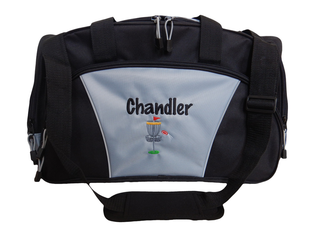 Frisbee Disc Golf Sports Personalized Monogrammed Embroidered GREY Duffel FONT STYLE MARKER PEN