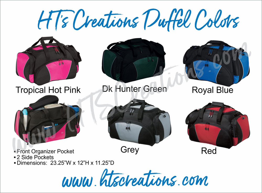 HT's Creations Custom Monogrammed Personalized Zippered DUFFEL BAG COLORS Hot Pink Royal Blue Hunter Green Grey  Red