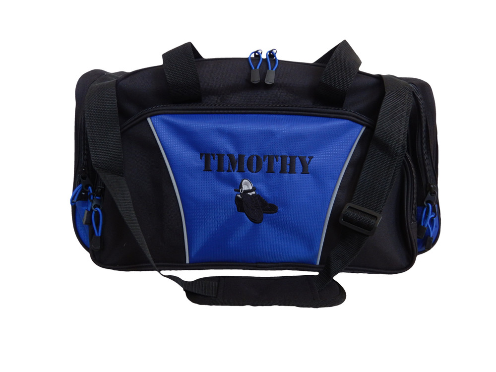 Irish Dance Clogging Clogger Tap Shoes Mens Celtic Ireland Dance Personalized Embroidered Duffel Bag ROYAL BLUE Font Style VARSITY