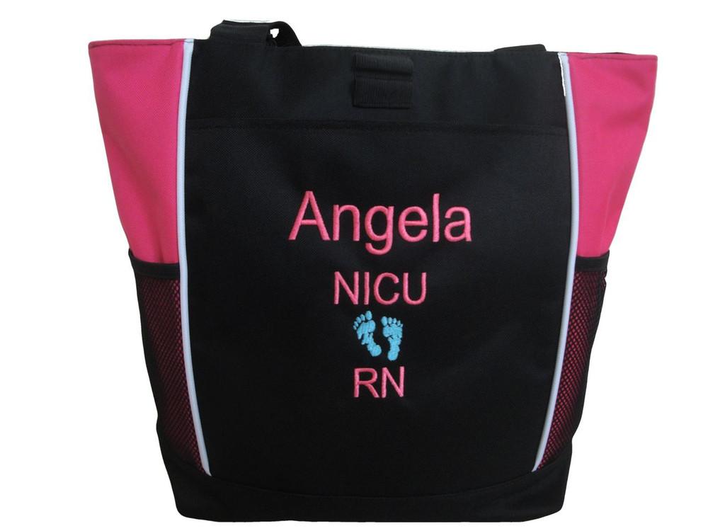 Baby Feet NICU Nursing Nurse ER RN Mother Baby Paramedic TROPICAL HOT PINK Tote Bag Font Style ARIAL