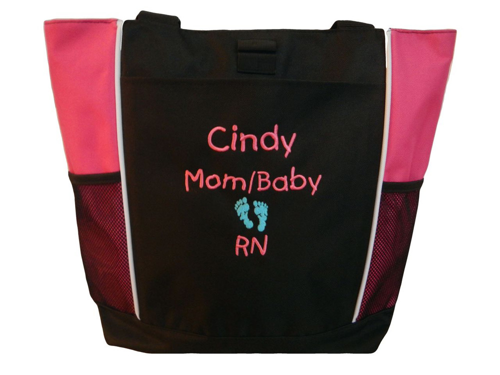 Baby Feet NICU Nursing Nurse ER RN Mother Baby Paramedic TROPICAL HOT PINK Tote Bag Font Style CHILDS PLAY