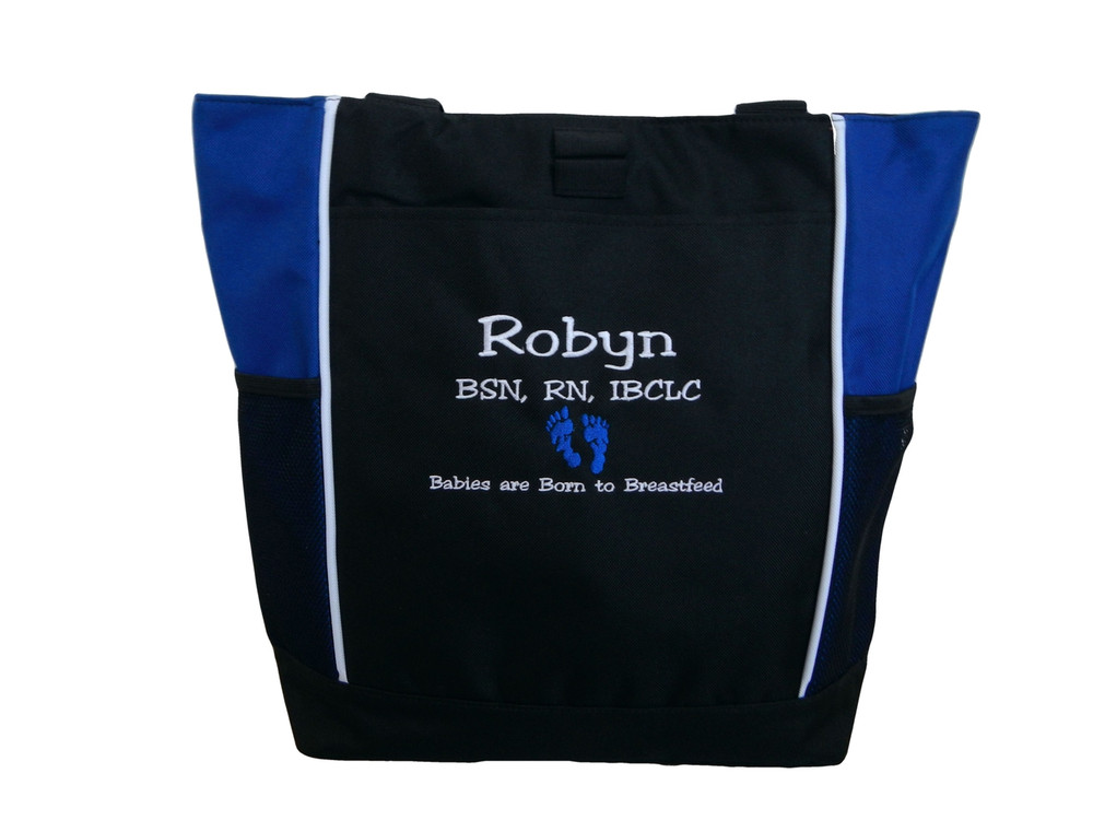 Baby Feet NICU Nursing Nurse ER RN BSN IBCLC Labor & Delivery Mother Baby Breastfeed ROYAL BLUE Tote Bag Font Style JESTER