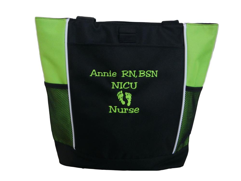 Baby Feet NICU Nursing Nurse ER RN BSN Mother Baby Paramedic LIME GREEN Tote Bag Font Style JESTER