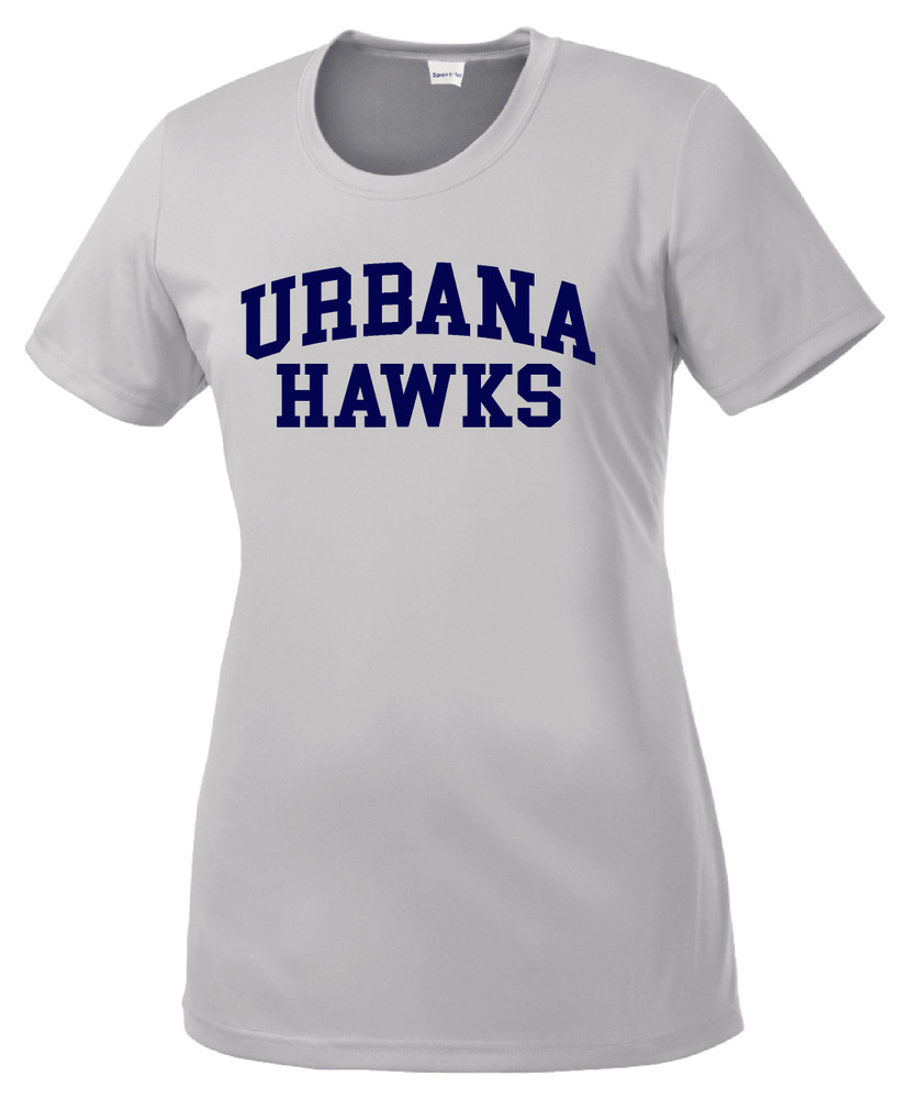 UHS Urbana Hawks T-shirt Performance Posi Charge Competitor Many Colors Available LADIES SZ XS-4XL SILVER