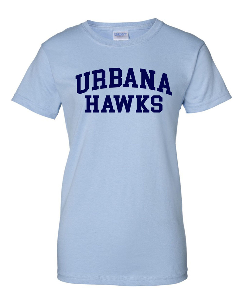 UHS Urbana Hawks T-shirt Cotton LADIES Many Colors Available SZ XS-3XL LT BLUE