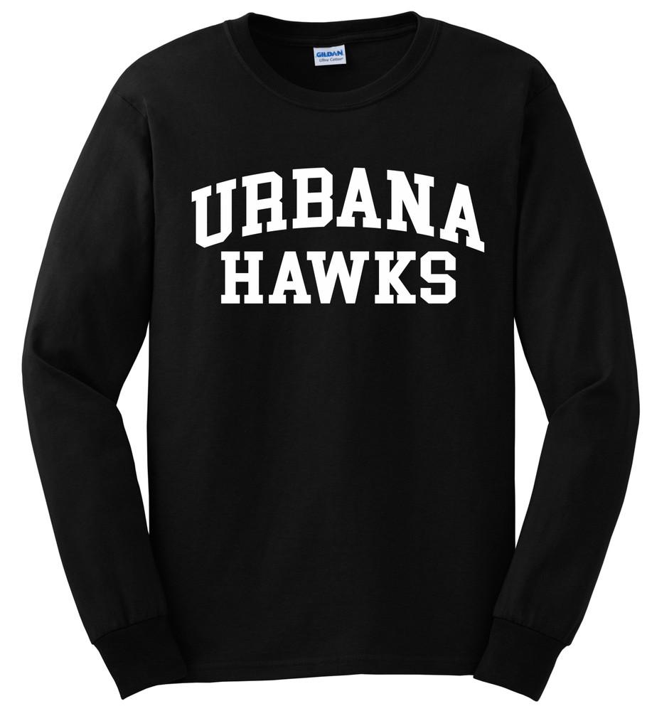 UHS Urbana Hawks T-shirt LONG SLEEVE Cotton Many Colors Available Sz S-3XL BLACK
