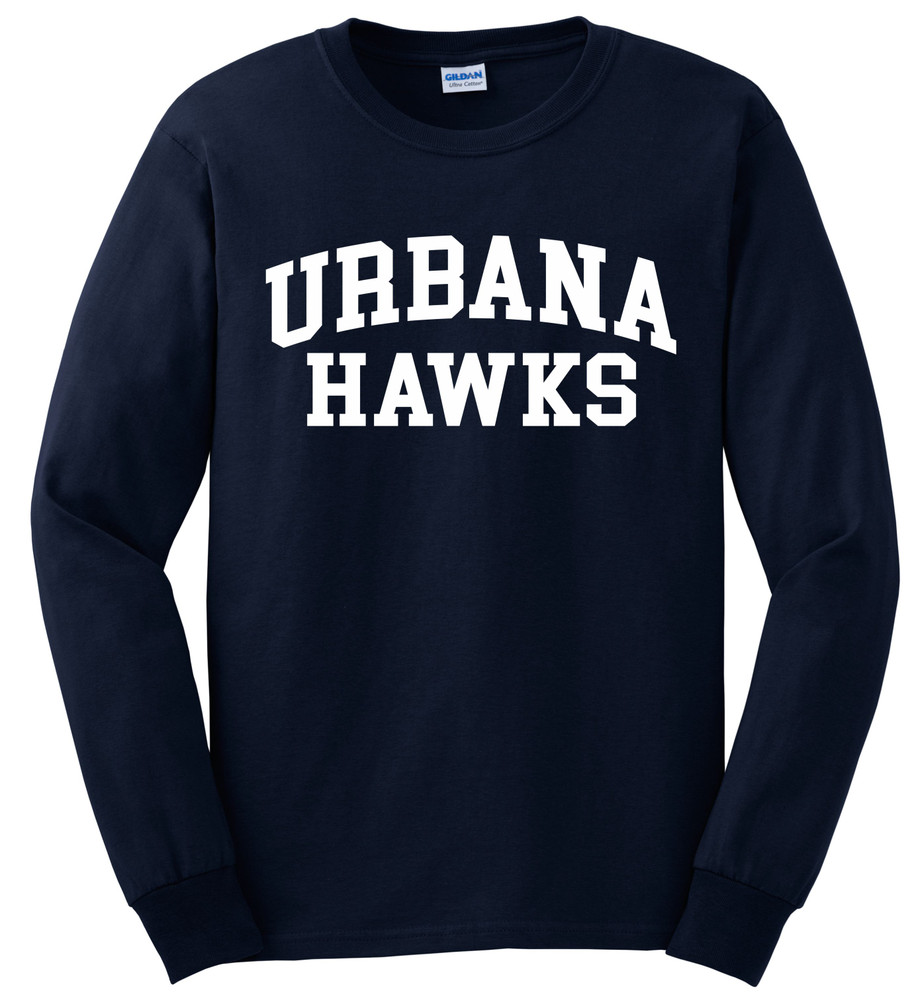 UHS Urbana Hawks T-shirt LONG SLEEVE Cotton Many Colors Available Sz S-3XL NAVY