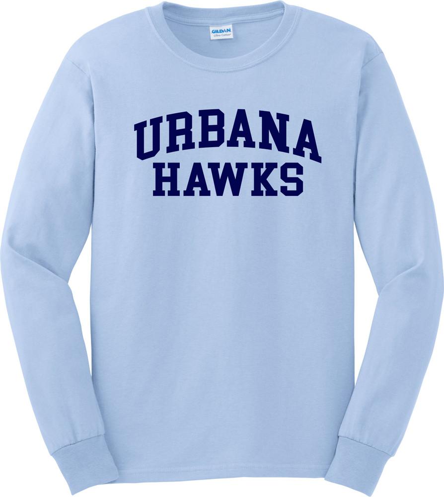 UHS Urbana Hawks T-shirt LONG SLEEVE Cotton Many Colors Available Sz S-3XL LT BLUE