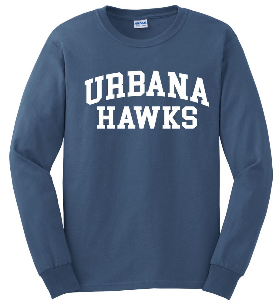 UHS Urbana Hawks T-shirt LONG SLEEVE Cotton Many Colors Available Sz S-3XL INDIGO