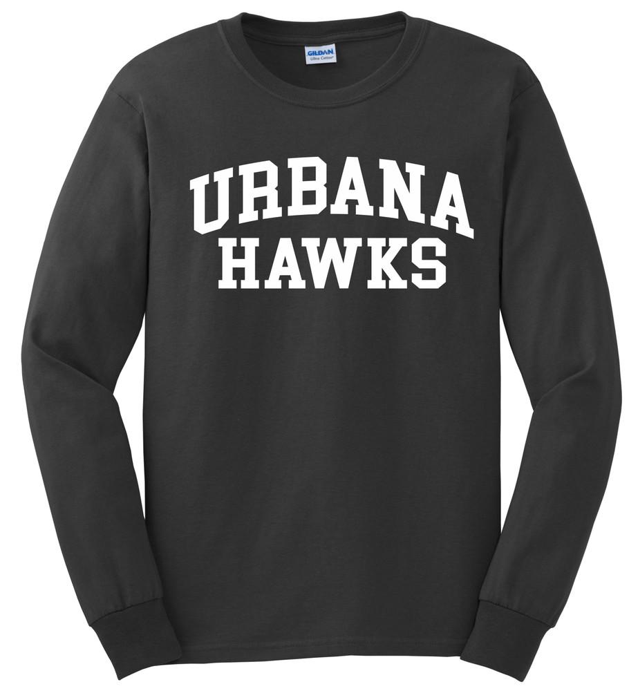 UHS Urbana Hawks T-shirt LONG SLEEVE Cotton Many Colors Available Sz S-3XL CHARCOAL