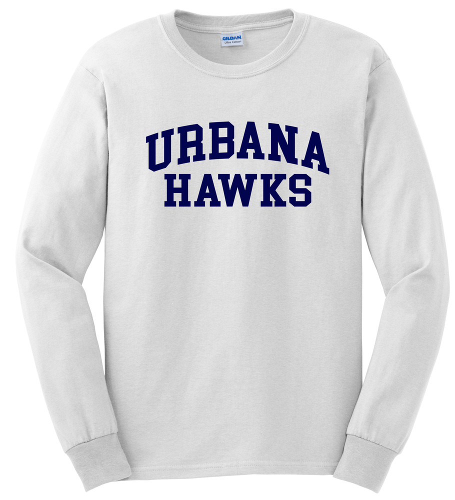 UHS Urbana Hawks T-shirt LONG SLEEVE Cotton Many Colors Available Sz S-3XL WHITE