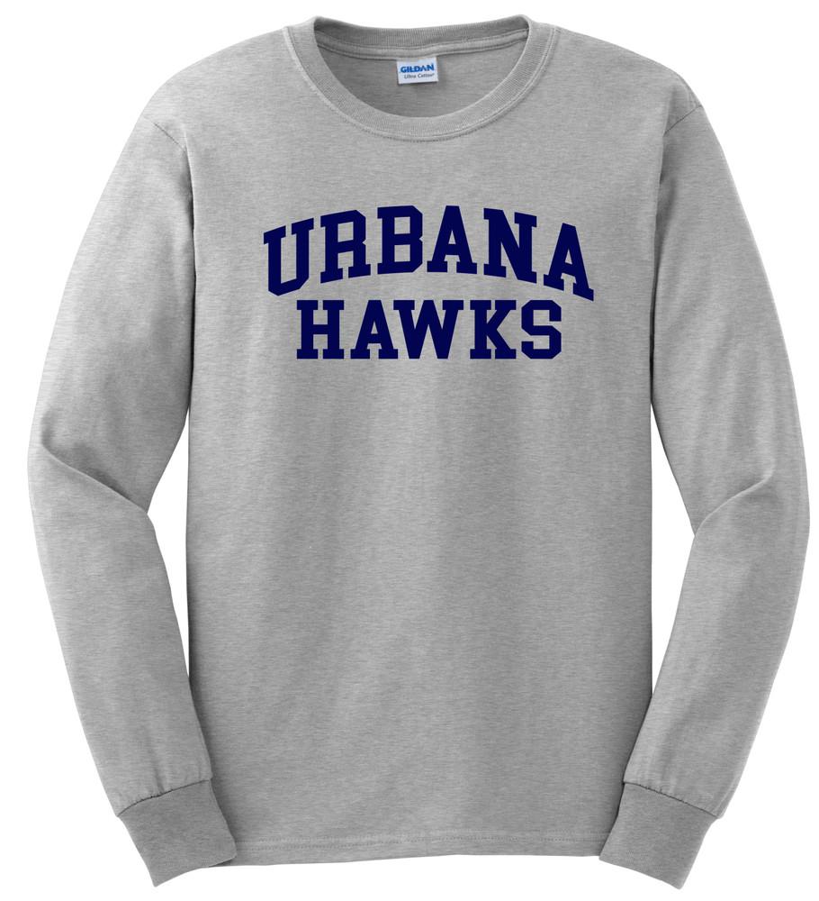 UHS Urbana Hawks T-shirt LONG SLEEVE Cotton Many Colors Available Sz S-3XL SPORTS GREY